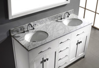Virtu USA Caroline 60 Double Bathroom Vanity Set in White w/ Italian Carrara White Marble Counter-Top |  Round Basin
