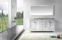 "Virtu USA Caroline Avenue 72"" Double Bathroom Vanity Cabinet Set in White w/ Italian Carrara White Marble Counter-Top"