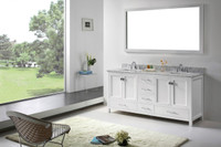 Virtu USA Caroline Avenue 72 Double Bathroom Vanity Set in White w/ Italian Carrara White Marble Counter-Top | Square Basin