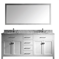"Caroline 72"" Double Bathroom Vanity Set in White/ Italian Carrara White Marble Counter-Top"