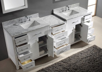 Virtu USA Caroline Parkway 93 Double Bathroom Vanity Set in White w/ Italian Carrara White Marble Counter-Top | Square Basin
