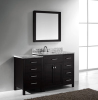 "Virtu USA Caroline Parkway 57"" Single Bathroom Vanity Cabinet Set in Espresso w/ Italian Carrara White Marble Counter-Top"