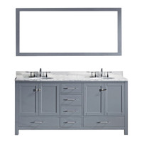 "Virtu USA Caroline Avenue 72"" Double Bathroom Vanity Set in Grey w/ Italian Carrara White Marble Counter-Top 