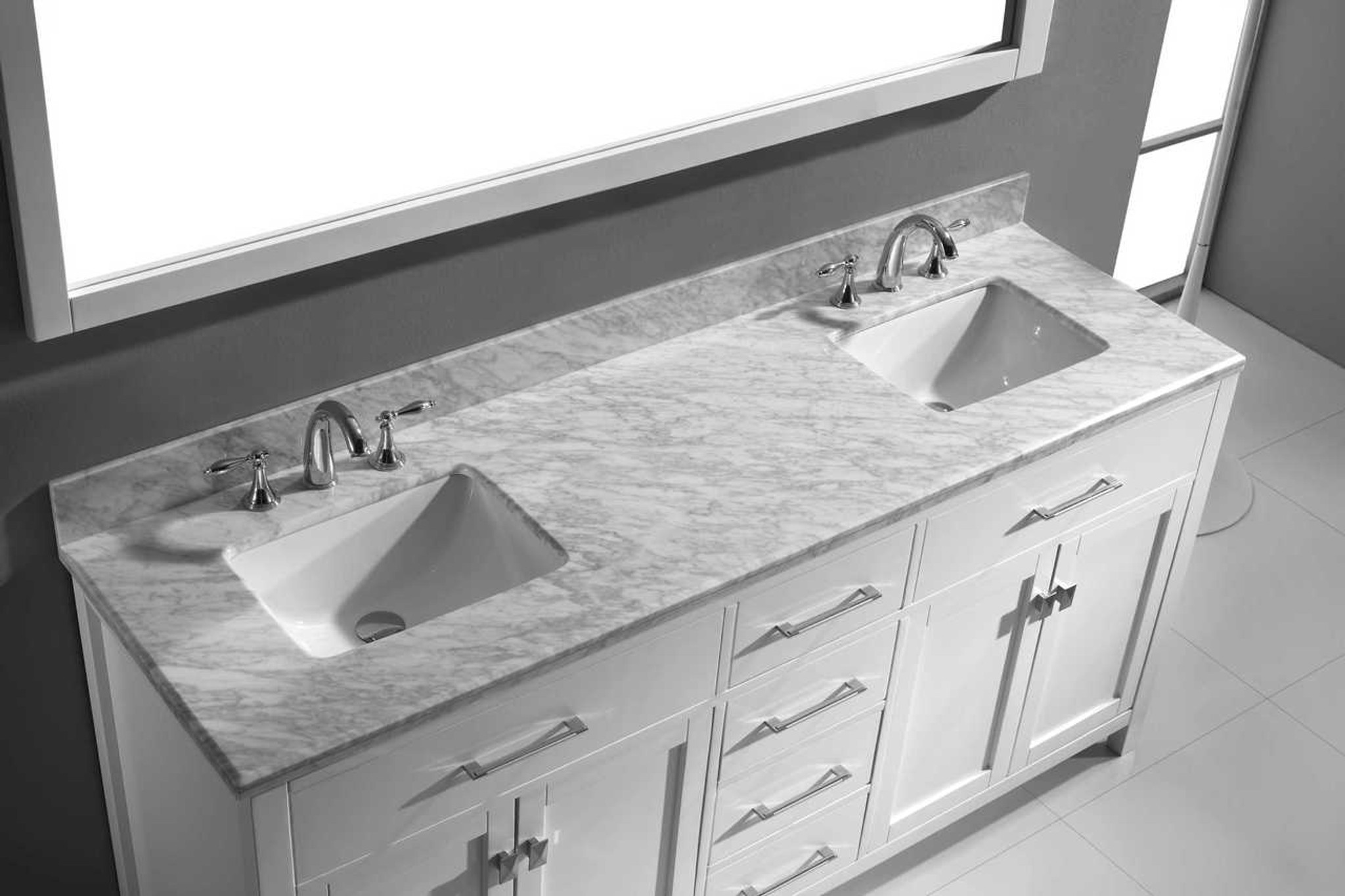 Awe Inspiring Virtu Usa Caroline 72 Double Bathroom Vanity Set In White W Italian Carrara White Marble Counter Top Square Basin Home Interior And Landscaping Ponolsignezvosmurscom