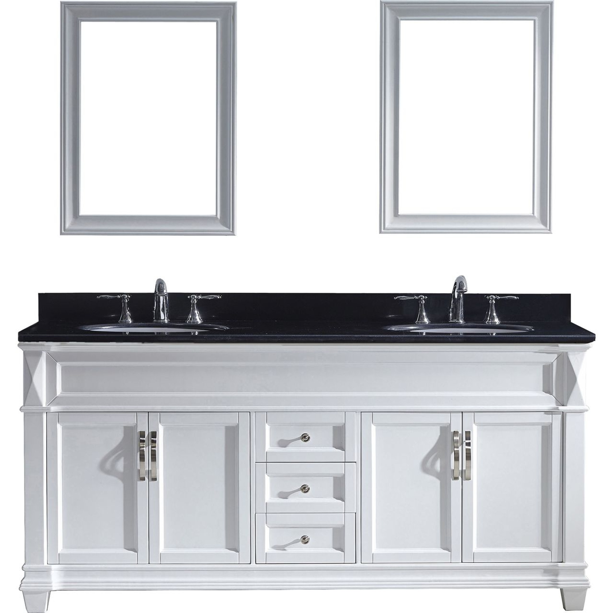 Sensational Virtu Usa Victoria 72 Double Bathroom Vanity Set In White W Black Galaxy Granite Counter Top Round Basin Home Interior And Landscaping Ponolsignezvosmurscom
