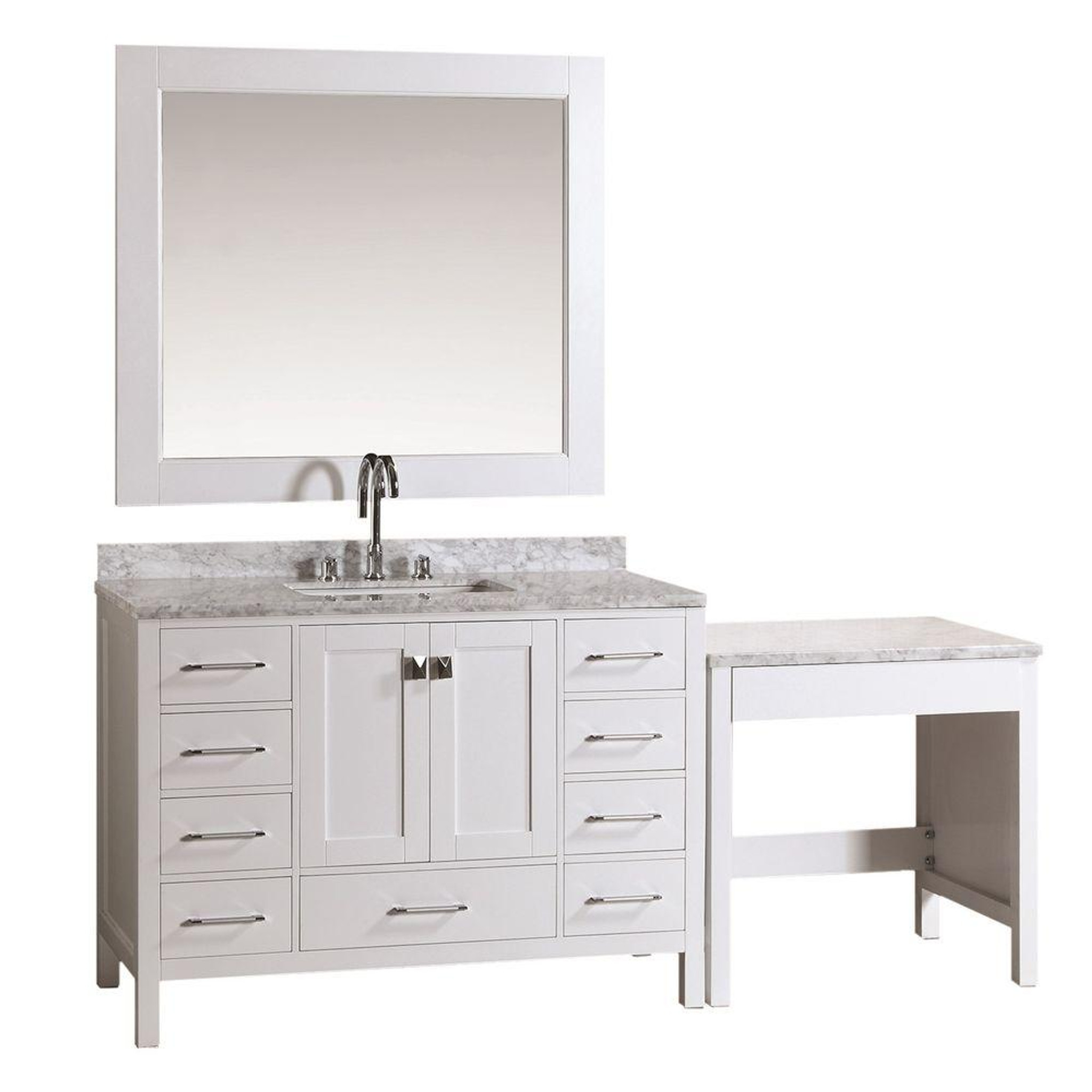 Design Element Dec082c W Mut W London 48 Single Sink Vanity Set In White Finish With One Make Up Table In White Finish