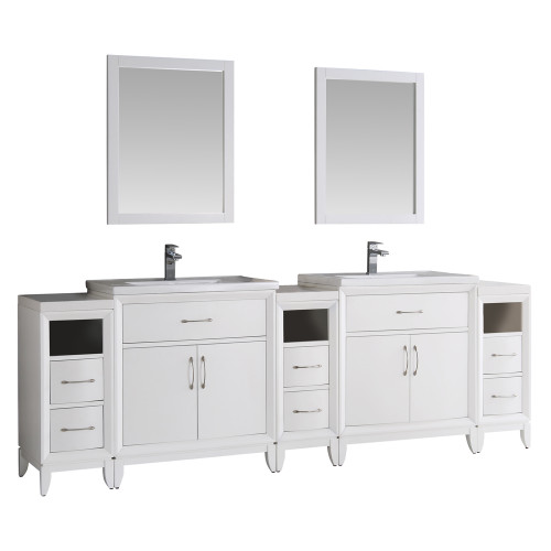 "Fresca Cambridge 96"" White Double Sink Traditional Bathroom Vanity w/ Mirrors"