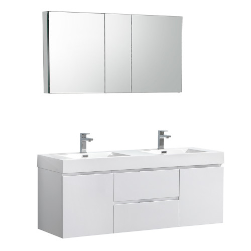 "Fresca Valencia 60"" Glossy White Wall Hung Double Sink Modern Bathroom Vanity Set  w/ Medicine Cabinet"