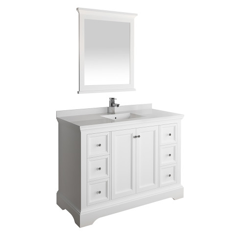 "Fresca Windsor 48"" Matte White Traditional Bathroom Vanity w/ Mirror 