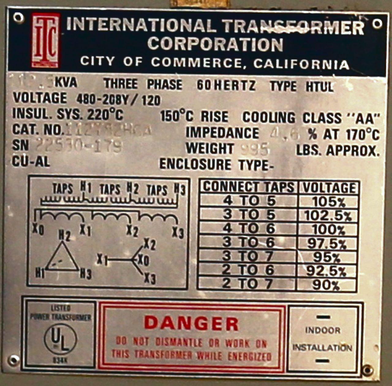 112.5 kVA  ITC Transformer 112T82H6A