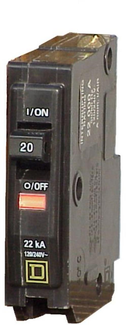 Square D circuit breaker, QO120 1 pole, 20 amp, 120 volt - Breaker Outlet