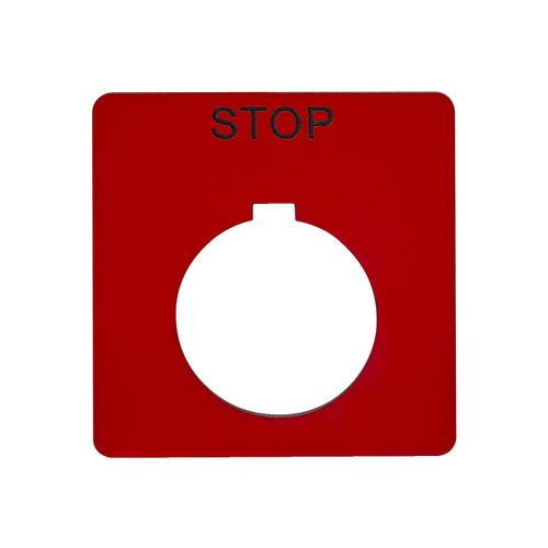 9001-KN102RP Re legend plate STOP