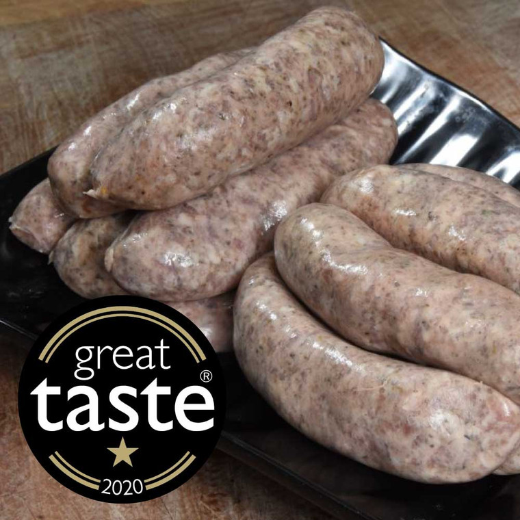 Our homemade 1 star Great Taste award winning sausages are made with Free range Gloucester Old Spot pork with seasonings developed in house. Our most popular sausages are Ben's Classics, a lovely herby sausage with rosemary, sage and a touch of nutmeg.