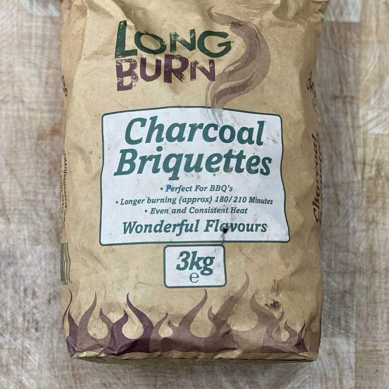 High quality locally sourced briquettes will keep your BBQ burning for hours.