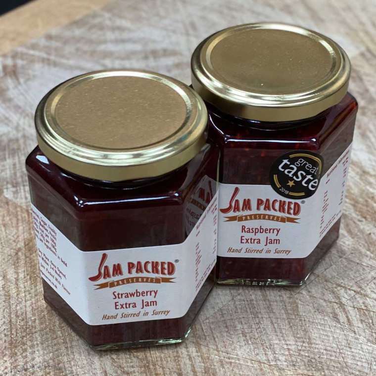 Jam Packed Strawberry or Raspberry. Hand stirred in Surrey.