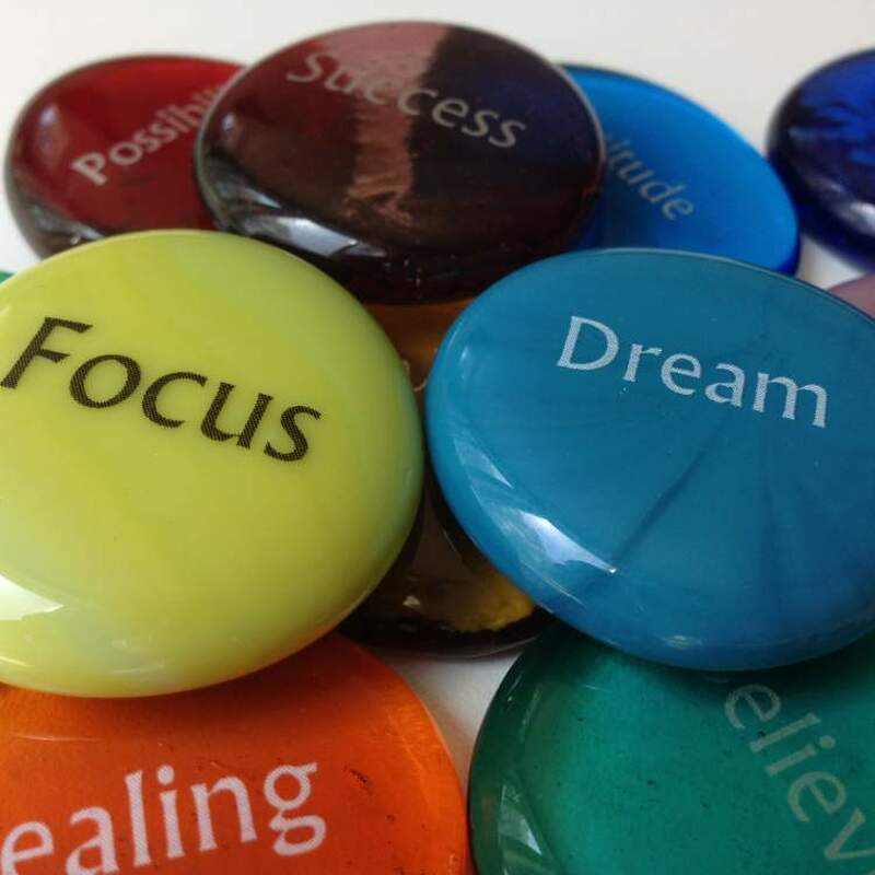 Our Glass Word Stones come in a variety of assorted colors