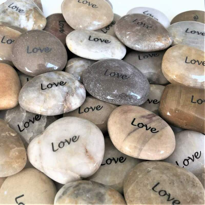 These Love rocks come in an assortment of natural colors.