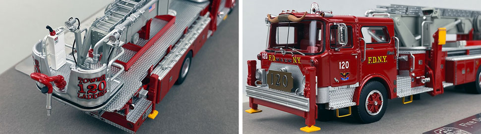 Closeup pictures 3-4 of FDNY's 1973 Mack CF/Baker Tower Ladder 120 scale model