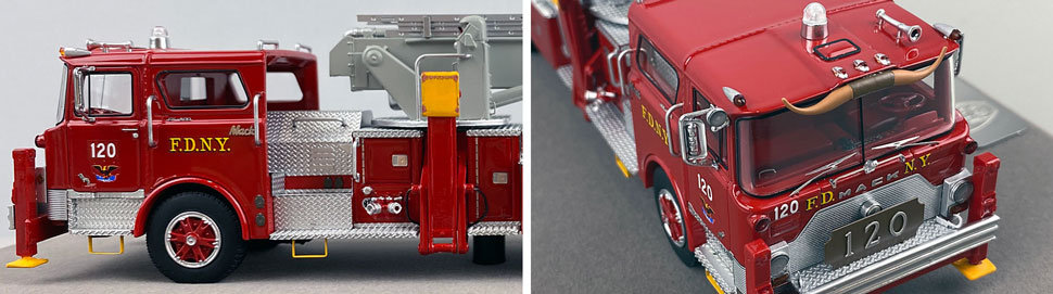 Closeup pictures 5-6 of FDNY's 1973 Mack CF/Baker Tower Ladder 120 scale model