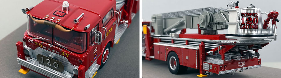 Closeup pictures 7-8 of FDNY's 1973 Mack CF/Baker Tower Ladder 120 scale model
