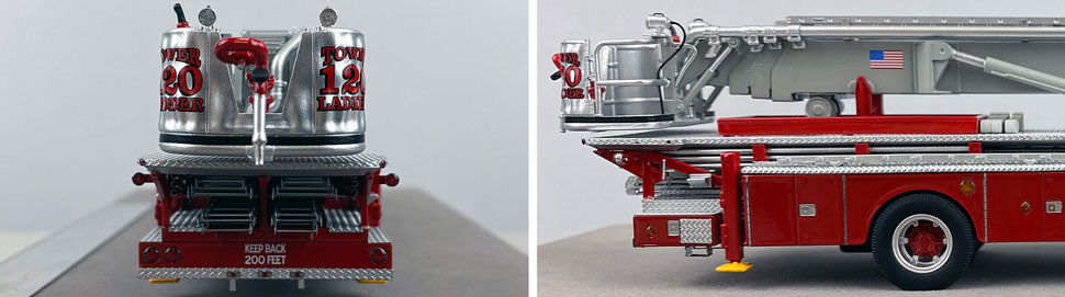 Closeup pictures 9-10 of FDNY's 1973 Mack CF/Baker Tower Ladder 120 scale model