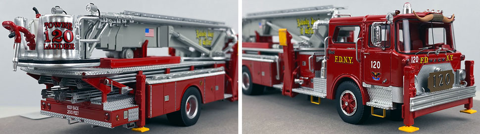 Closeup pictures 11-12 of FDNY's 1973 Mack CF/Baker Tower Ladder 120 scale model