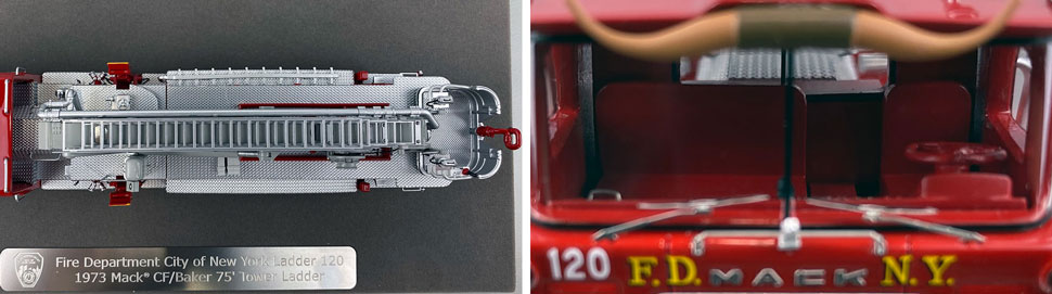 Closeup pictures 13-14 of FDNY's 1973 Mack CF/Baker Tower Ladder 120 scale model