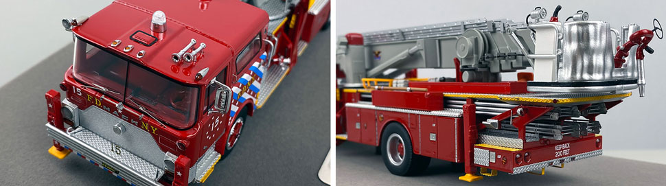 Closeup pictures 7-8 of FDNY's 1973 Mack CF/Baker Tower Ladder 15 scale model