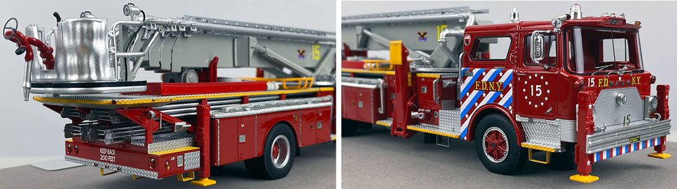 Closeup pictures 11-12 of FDNY's 1973 Mack CF/Baker Tower Ladder 15 scale model