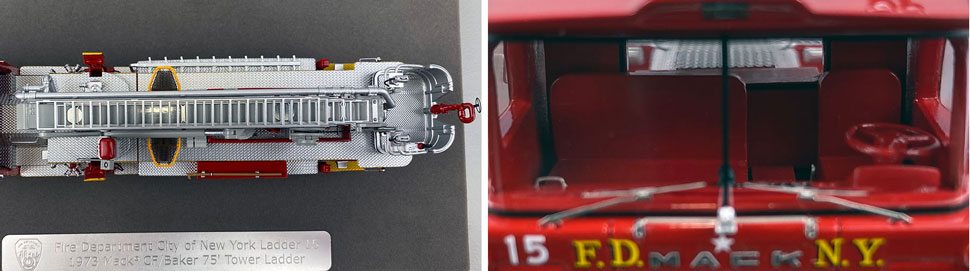 Closeup pictures 13-14 of FDNY's 1973 Mack CF/Baker Tower Ladder 15 scale model