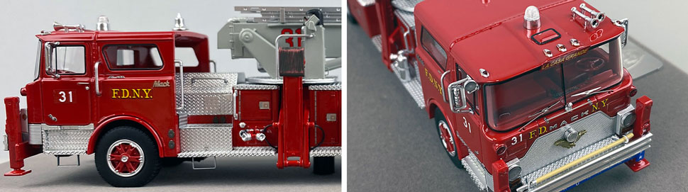Closeup pictures 5-6 of FDNY's 1973 Mack CF/Baker Tower Ladder 31 scale model