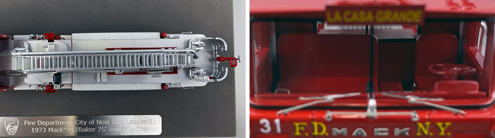 Closeup pictures 13-14 of FDNY's 1973 Mack CF/Baker Tower Ladder 31 scale model