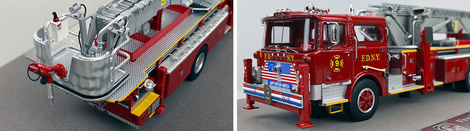Closeup pictures 3-4 of FDNY's 1972 Mack CF/Baker Tower Ladder 9 scale model