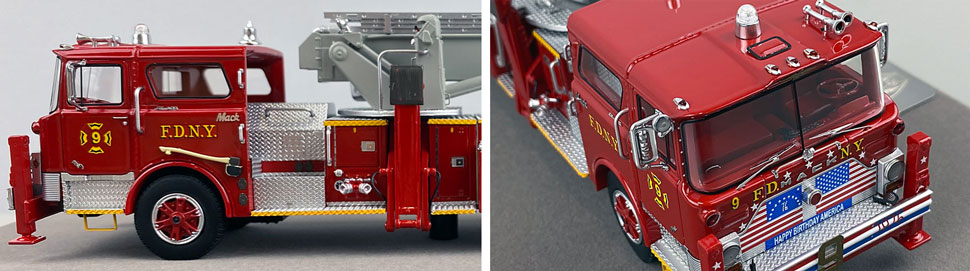 Closeup pictures 5-6 of FDNY's 1972 Mack CF/Baker Tower Ladder 9 scale model