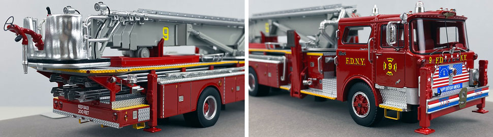 Closeup pictures 11-12 of FDNY's 1972 Mack CF/Baker Tower Ladder 9 scale model