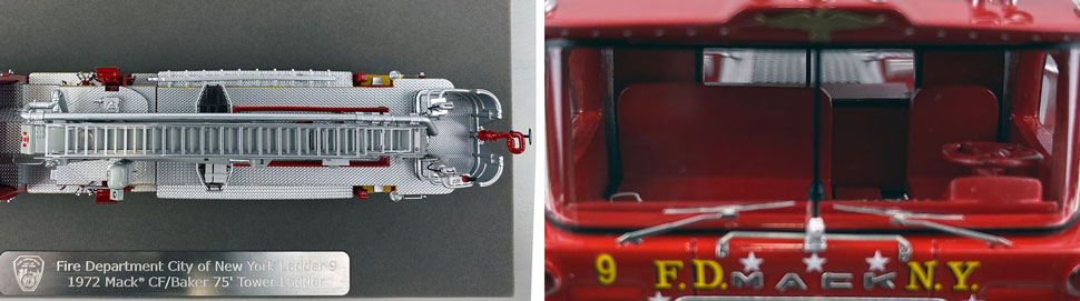 Closeup pictures 13-14 of FDNY's 1972 Mack CF/Baker Tower Ladder 9 scale model