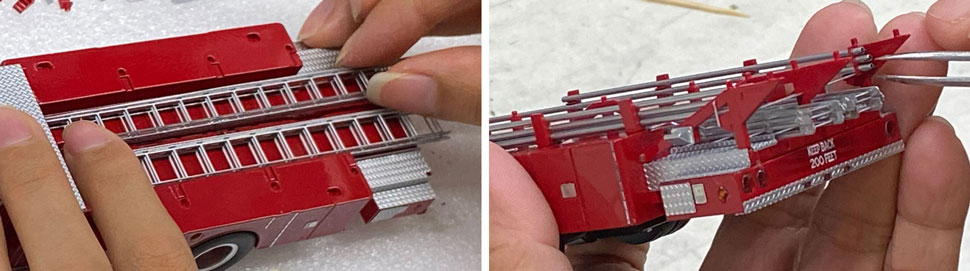 Assembly pictures 11-12 of FDNY's 1972-73 Mack CF/Baker Tower Ladder scale models