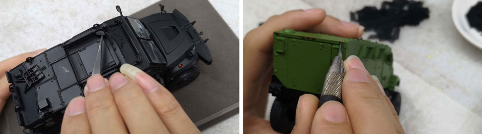 Assembly pictures 1-2 of International MVP 4x4 scale models