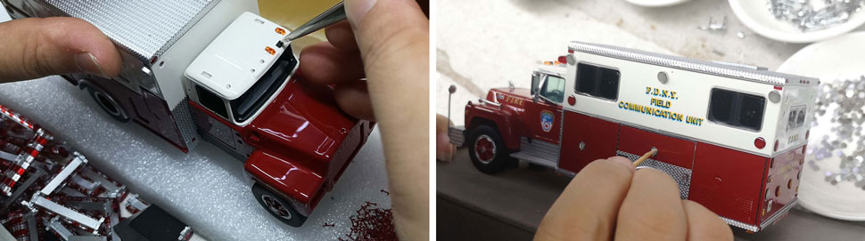 Assembly pictures 9-10 of FDNY 1985 Mack R-Saulsbury Field Communications scale model