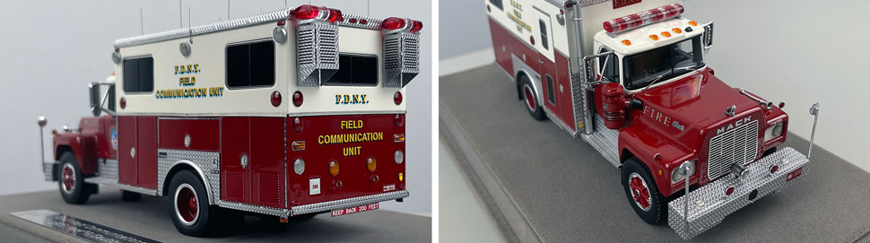 Closeup pictures 3-4 of the FDNY 1985 Mack R-Saulsbury Field Communications scale model