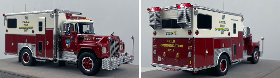Closeup pictures 5-6 of the FDNY 1985 Mack R-Saulsbury Field Communications scale model