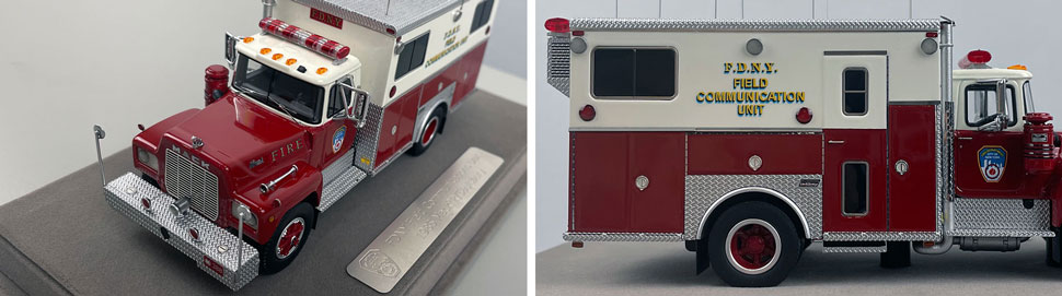 Closeup pictures 7-8 of the FDNY 1985 Mack R-Saulsbury Field Communications scale model