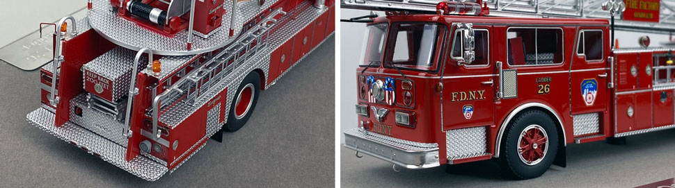 Closeup pictures 7-8 of the FDNY's 1983 Ladder 26 scale model