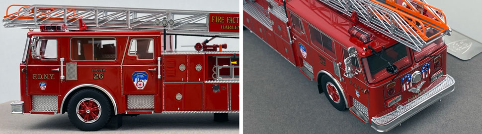 Closeup pictures 3-4 of the FDNY's 1983 Ladder 26 scale model