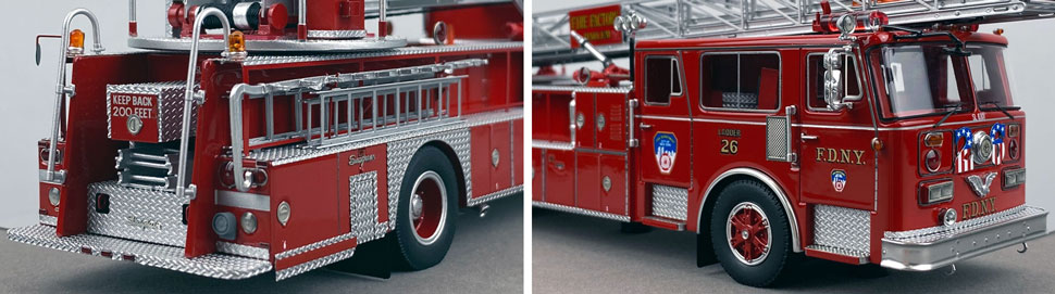 Closeup pictures 11-12 of the FDNY's 1983 Ladder 26 scale model