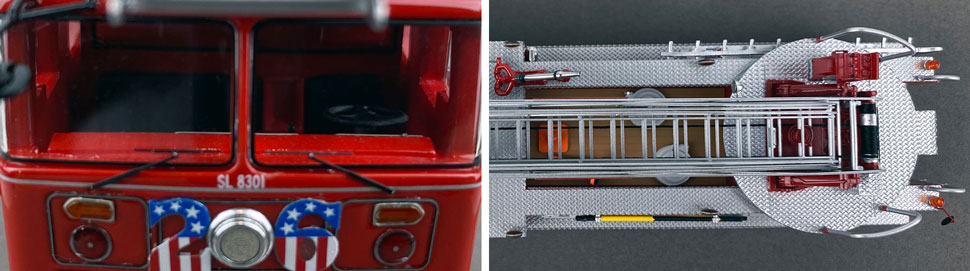 Closeup pictures 13-14 of the FDNY's 1983 Ladder 26 scale model