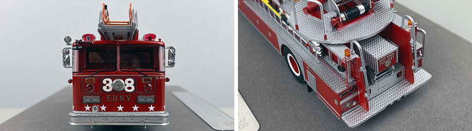 Closeup pictures 1-2 of the FDNY's 1983 Ladder 38 scale model