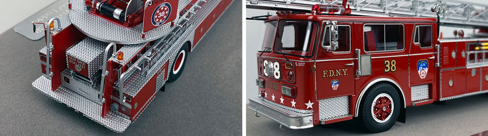 Closeup pictures 7-8 of the FDNY's 1983 Ladder 38 scale model