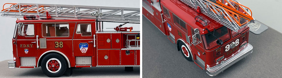 Closeup pictures 3-4 of the FDNY's 1983 Ladder 38 scale model