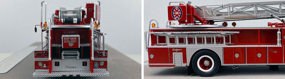 Closeup pictures 5-6 of the FDNY's 1983 Ladder 38 scale model